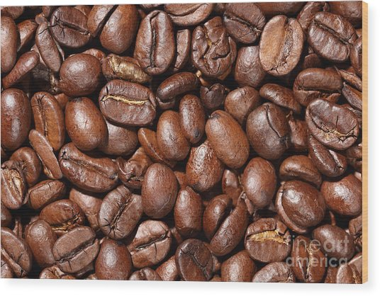 Raw Coffee Beans Background Wood Print
