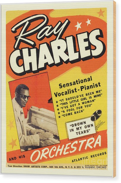 Ray Charles Rock N Roll Concert Poster 1950s Wood Print