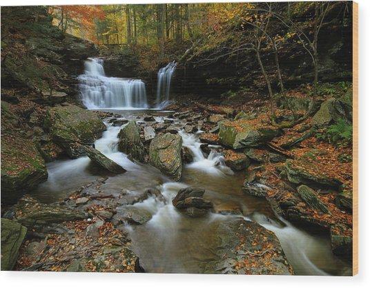 R.b. Ricketts Falls In Autumn Wood Print