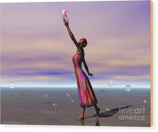 Reaching For A Cure Wood Print by Sandra Bauser Digital Art