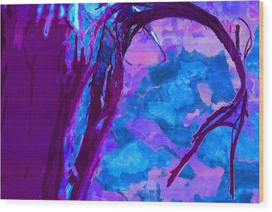 Reaching Into Blue Wood Print