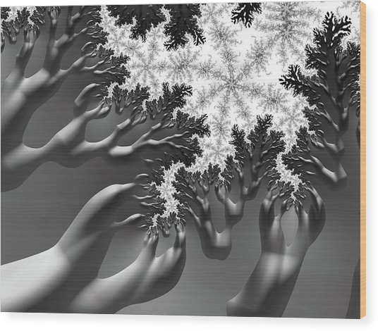 Reaching Wood Print
