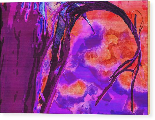 Reaching To Purple Clouds Wood Print