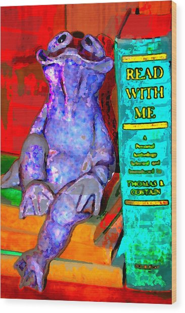 Read With Me Frog Wood Print by Danielle Stephenson