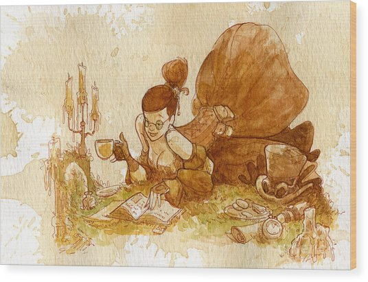Reading Wood Print by Brian Kesinger