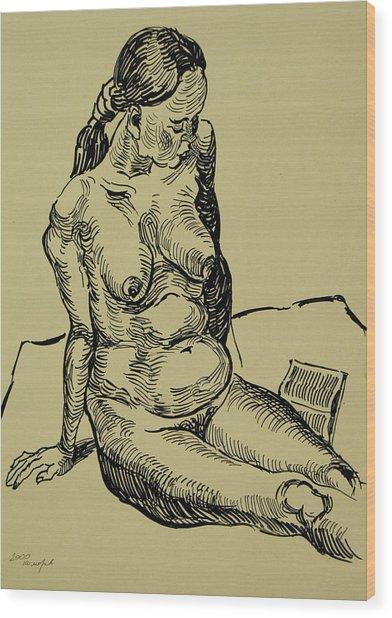 Reading Naked Woman Wood Print by Vitali Komarov