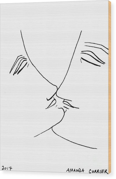 Ready To Kiss Wood Print by Amanda Currier