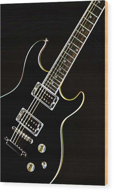 Real Electric Guitar Wood Print