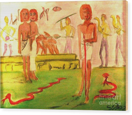 Reanimation Of Ancient Egypt Wood Print by Stanley Morganstein