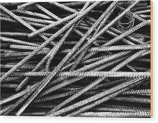 Rebar And Spring - Industrial Abstract  Wood Print