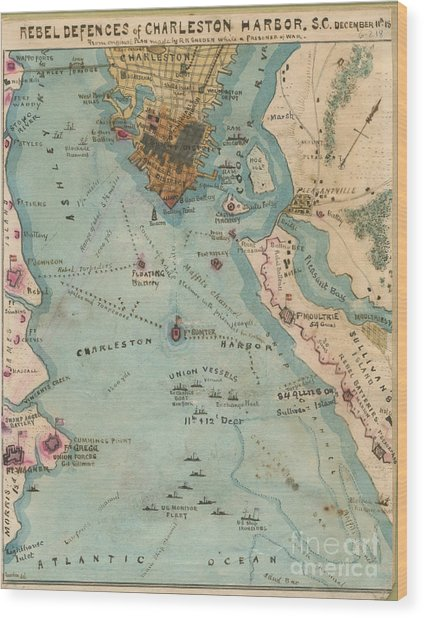 Rebel Defenses Of Charleston Harbor Wood Print