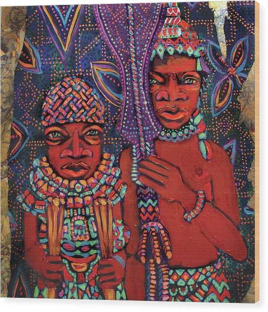 reCalling the Spirit Attendants with Paddles Wood Print