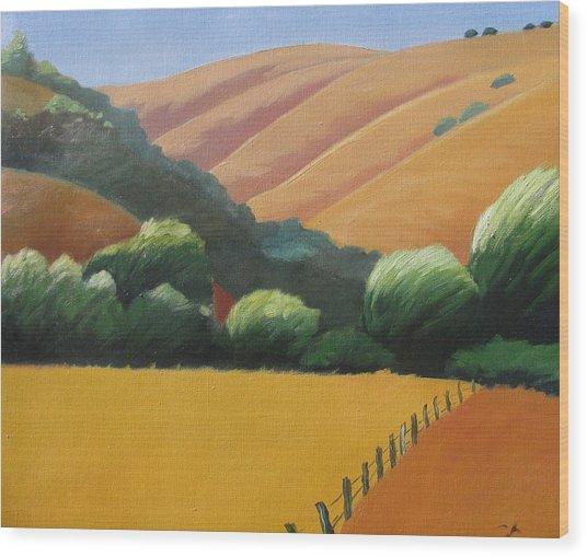 Receeding Hills Wood Print