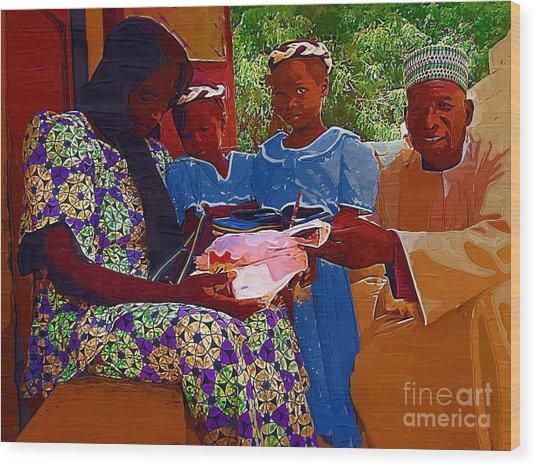 Receiving Gifts Wood Print by Deborah Selib-Haig DMacq