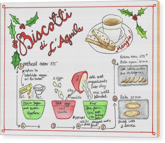 Recipe Biscotti Wood Print