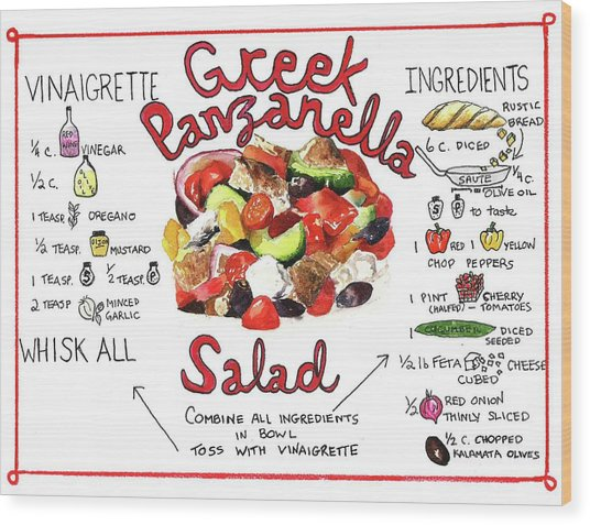 Recipe- Panzanella Salad Wood Print