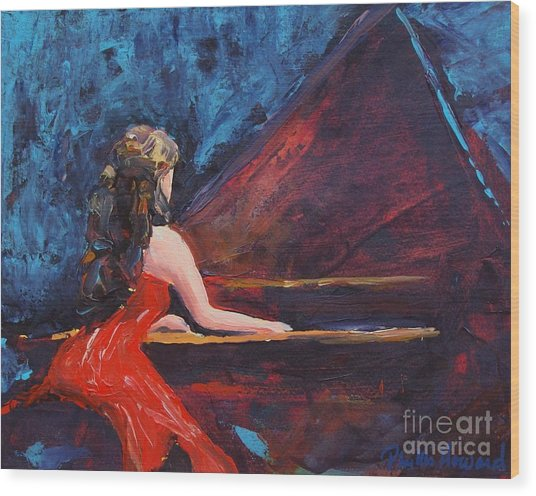 Recital In Red Wood Print
