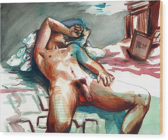 Wood Print featuring the painting Nude Reclined Male Figure by Rene Capone