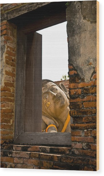 Reclining Buddha View Through A Window Wood Print