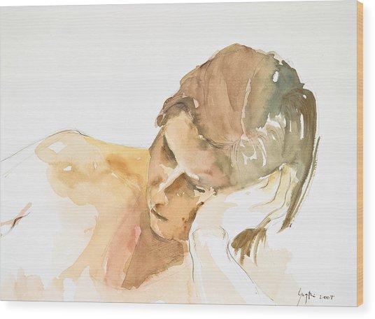 Reclining Head Wood Print by Eugenia Picado
