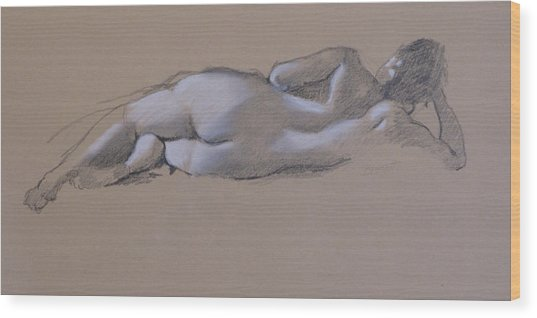 Reclining Nude 1 Wood Print by Robert Bissett