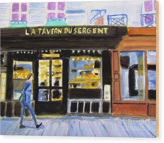 Reconnoiter Parisian Stores In Your Dreams Wood Print by Stanley Morganstein