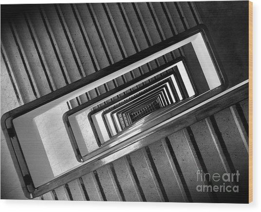 Rectangular Spiral Staircase Wood Print