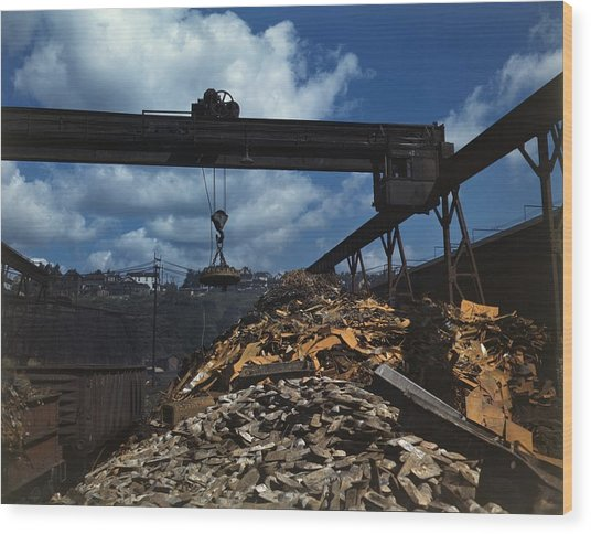 Recycling Scrap Steel During World War Wood Print by Everett