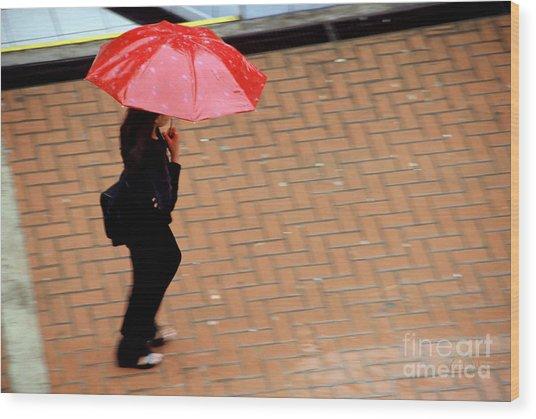 Red 1 - Umbrellas Series 1 Wood Print by Carlos Alvim