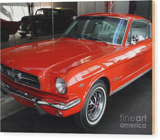 Red 1965 Ford Mustang . Front Angle Wood Print