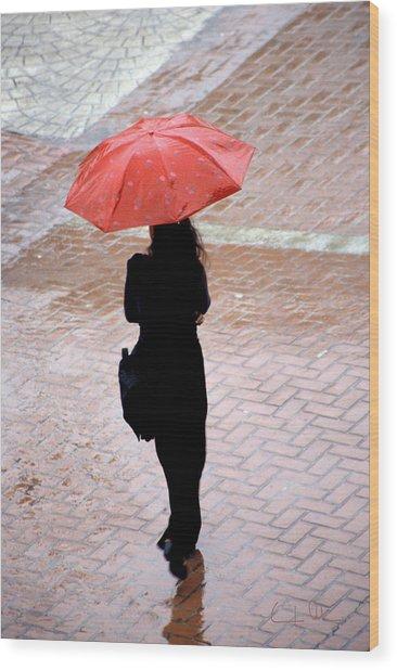 Red 2 - Umbrellas Series 1 Wood Print by Carlos Alvim