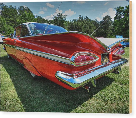 Wood Print featuring the photograph Red '59 Impala 001 by Lance Vaughn