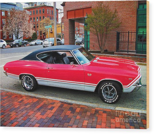 Red 68-69 Chevelle Ss 396 Wood Print