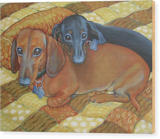Red And Black Dachshunds - Best Buds Wood Print