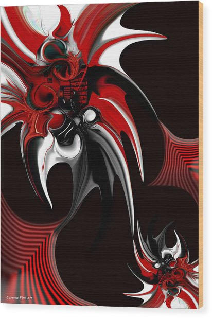 Red And Black Formation Wood Print