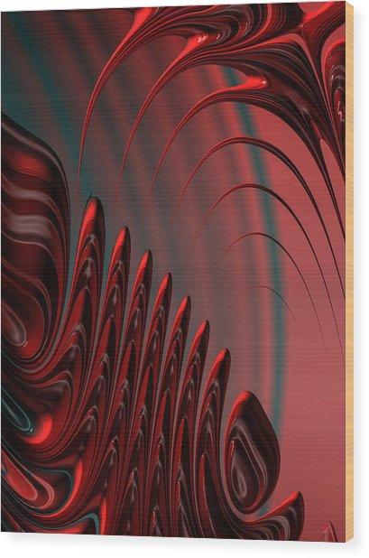 Red And Black Modern Fractal Design Wood Print