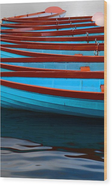 Red And Blue Paddle Boats Wood Print