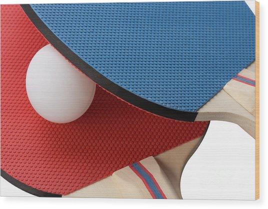 Red And Blue Ping Pong Paddles - Closeup Wood Print