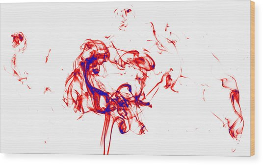 Red And Blue Twirrl Wood Print