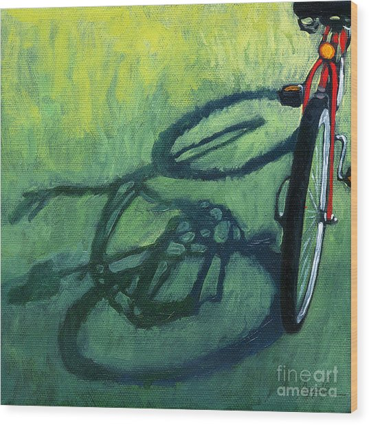 Red And Green - Bike Art Wood Print
