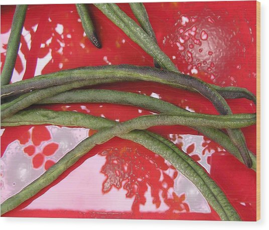 red and green N2 Wood Print by Evguenia Men