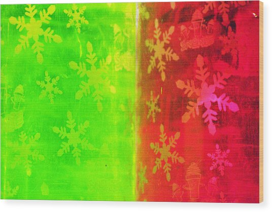 Red And Green With A Snowflake Pattern Wood Print by Richard Henne