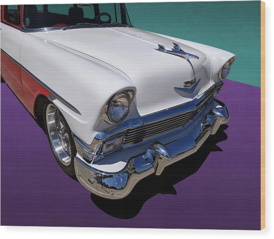 Red And White 1950s Chevrolet Wagon Wood Print