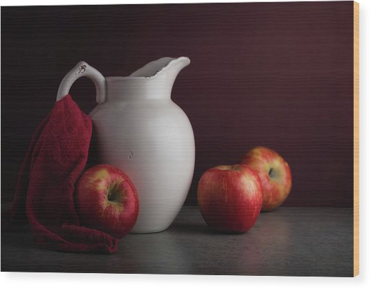 Red And White Apple Still Life Wood Print