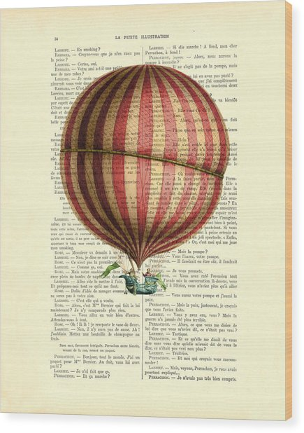 Red And White Striped Hot Air Balloon Antique Photo Wood Print