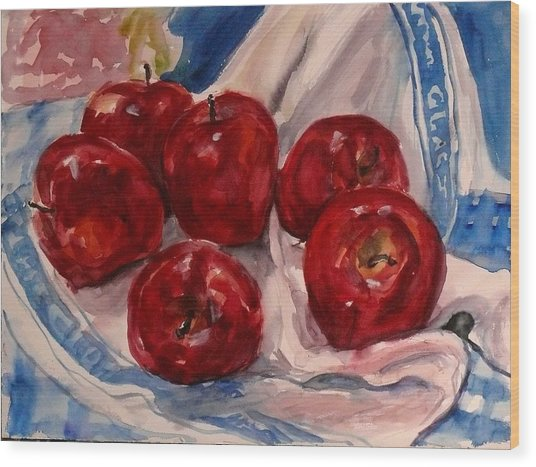 Red Apples Wood Print by Doranne Alden