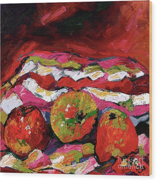 Red Apples Impressionist Still Life Oil Painting Wood Print