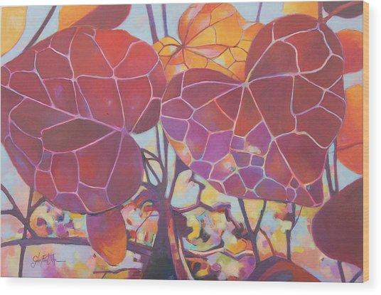Red Autum Wood Print