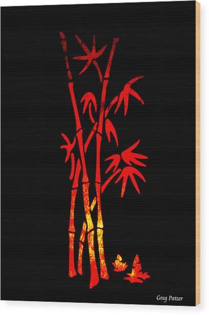 Red Bamboo Wood Print by Greg Patzer