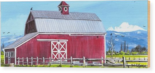 Red Barn And Mt Baker Wood Print by Bob Patterson